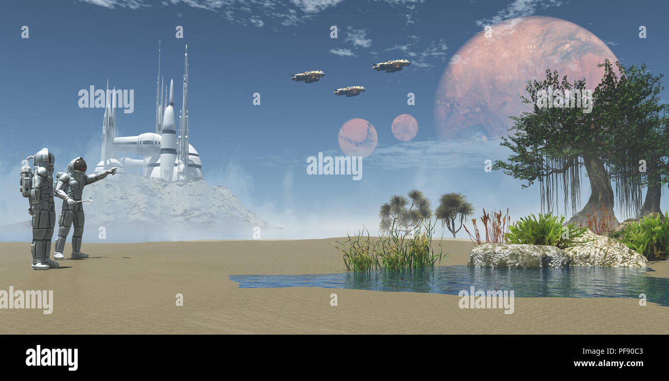 Environment on Exoplanet - A man in a space suit points to three spaceships taking off to his companion on an Exoplanet. - Stock Image