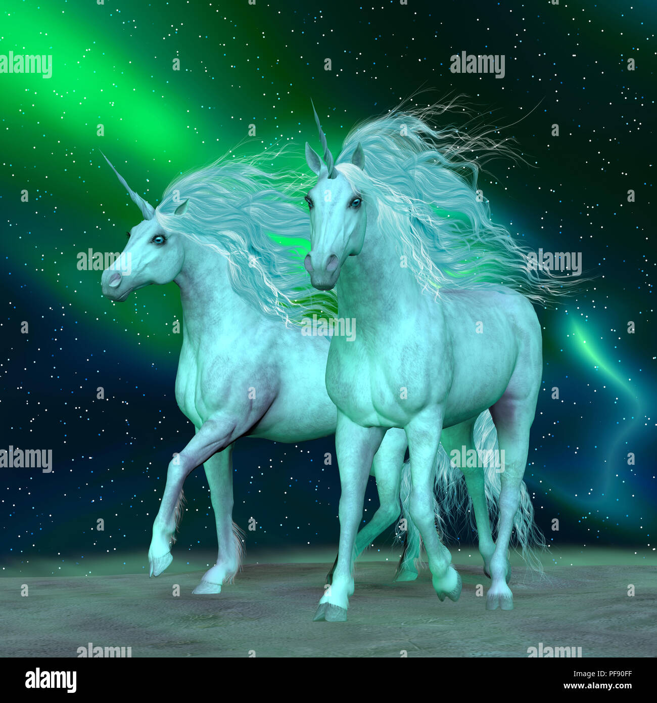 Northern Lights Unicorns - The Unicorn is a mythical creature that has a horse body with forehead horn and cloven hooves. - Stock Image