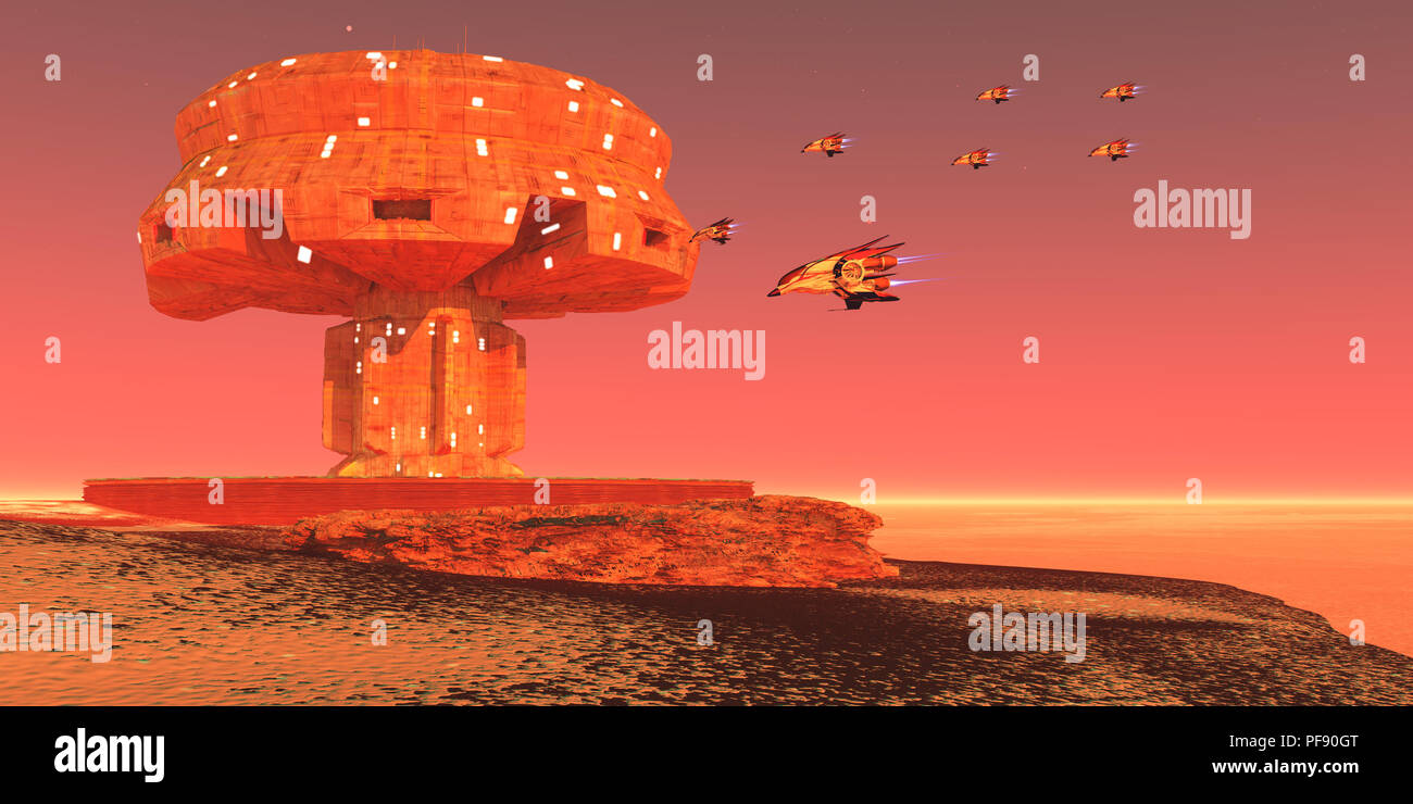 Spaceport on Mars - Mar's colonist's build a spaceport near a vast ice field at the north pole of this neighboring planet. - Stock Image