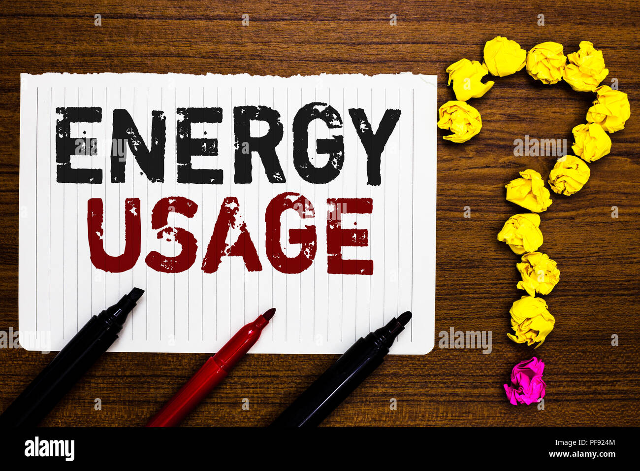 Handwriting text writing Energy Usage. Concept meaning Amount of energy consumed or used in a process or system Paper markers crumpled papers forming  - Stock Image