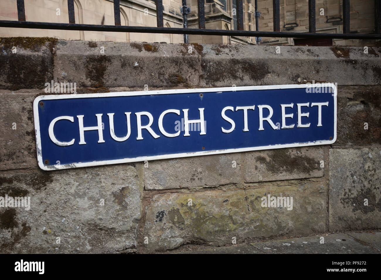 Church street road name sign in the busy market town of Warwick, Warwickshire - Stock Image