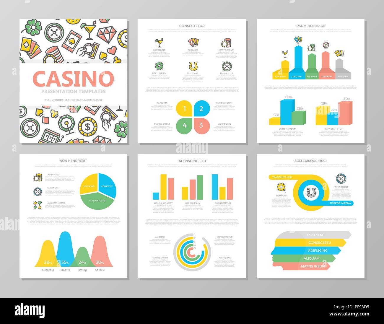 Set of colored gambling and casino elements for multipurpose a4 presentation template slides with graphs and charts. Leaflet, corporate report, marketing, advertising, book cover design. - Stock Image