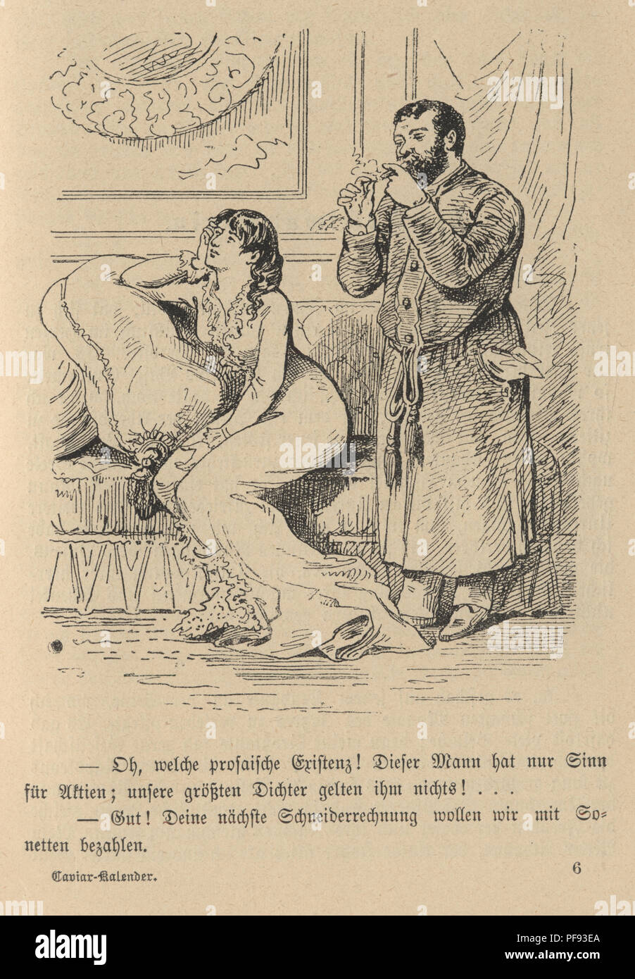 Vintage engraving of a Victorian Cartoon of a woman and her husband, 1880s, German Stock Photo