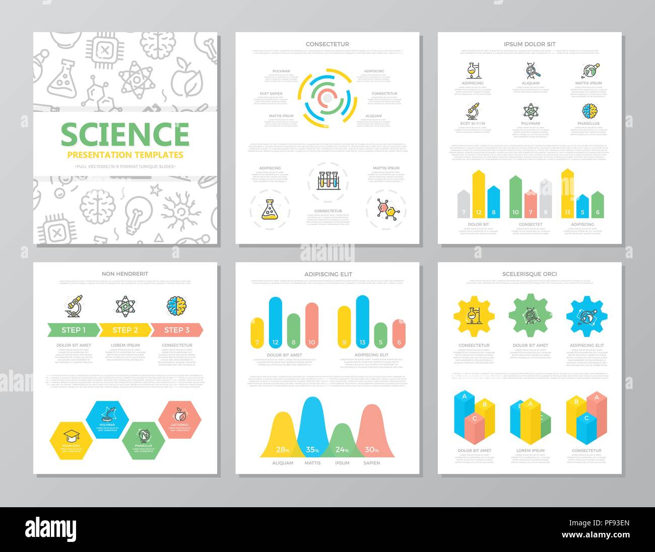 set of colored science and research elements for multipurpose a4