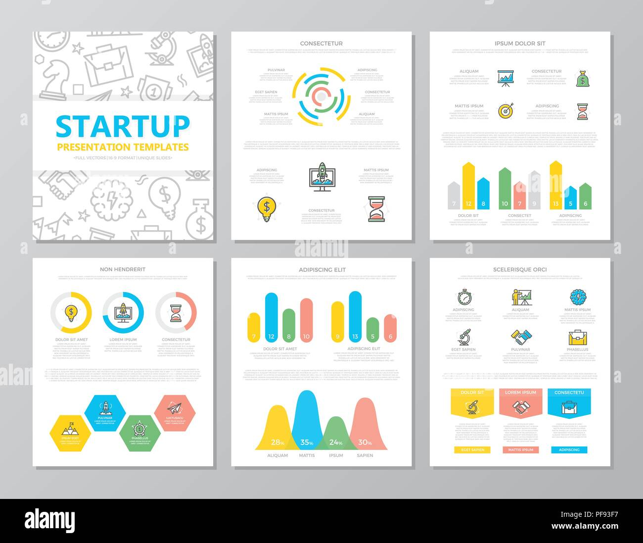 Set of colored startup and business elements for multipurpose a4 presentation template slides with graphs and charts. Leaflet, corporate report, marketing, advertising, book cover design. - Stock Image