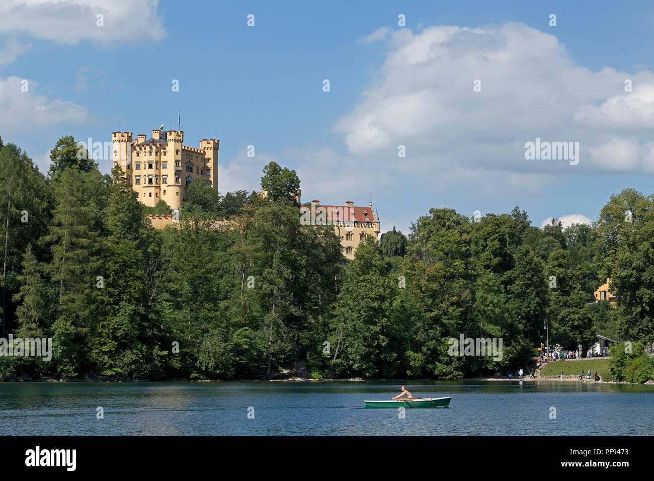 Hohenschwangau Castle with Alpsee (Lake Alp) in front, Hohenschwangau, Allgaeu, Bavaria, Germany - Stock Image