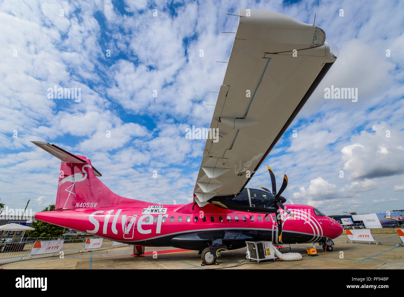 Silver Airways ATR-42 airliner plane F-WWLC N405SV at the Farnborough International Airshow FIA, aviation, aerospace trade show. Flip flops optional - Stock Image