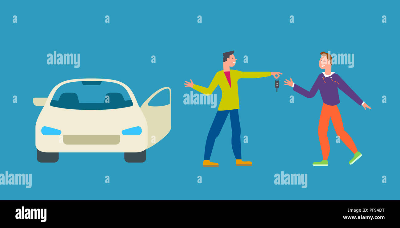 Car Business Sharing Service Concept Car Rental Illustration Man