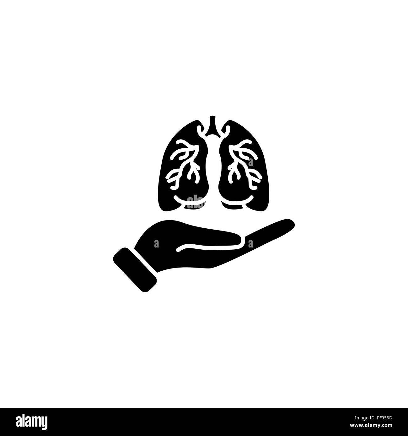 Web icon. Lungs in hand black on white background - Stock Image
