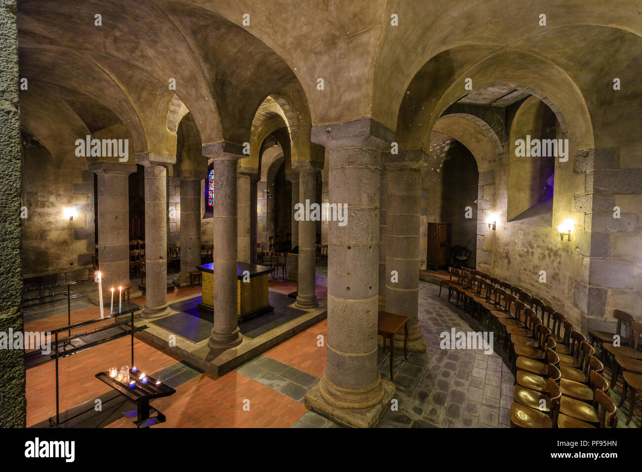 France, Puy de Dome, Volcans Auvergne Regional Natural Park, the Monts Dore, Orcival, Notre Dame Orcival basilica dated 12th century, the crypt // Fra - Stock Image