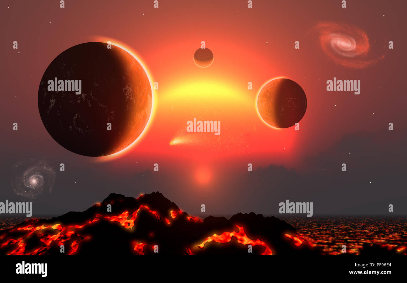 Red Giant Solar System - Stock Image