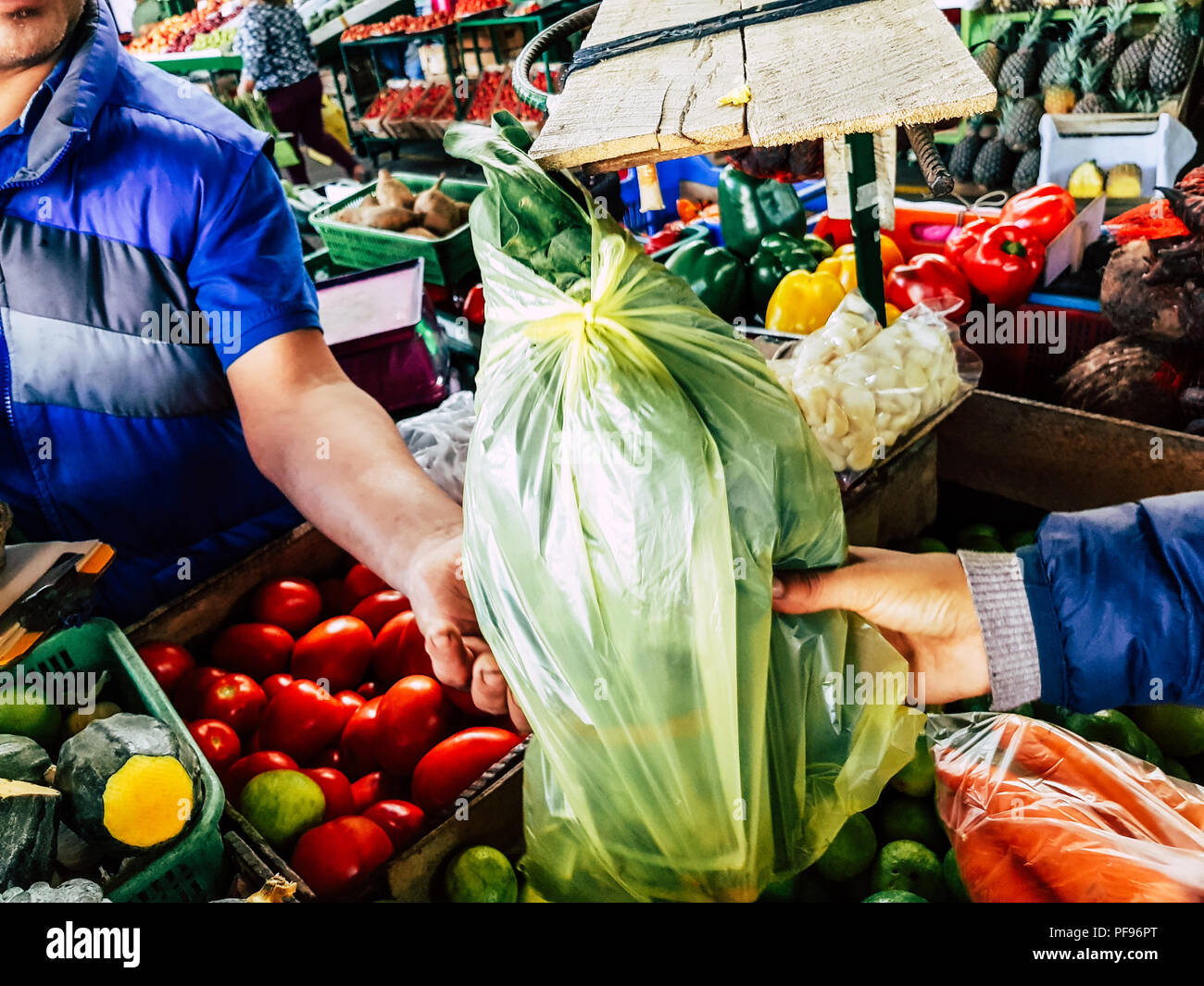 Sale of vegetables where the seller delivers a bag with groceries bought by the customer - Stock Image