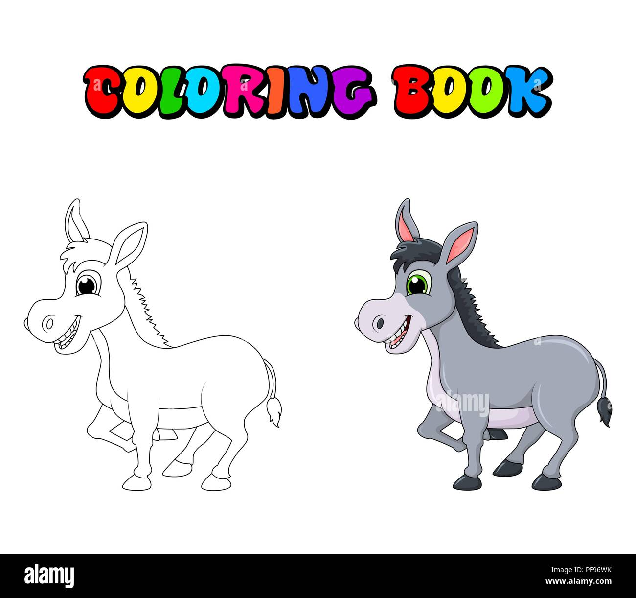 donkey cartoon character coloring book vector design isolated on white background - Stock Image