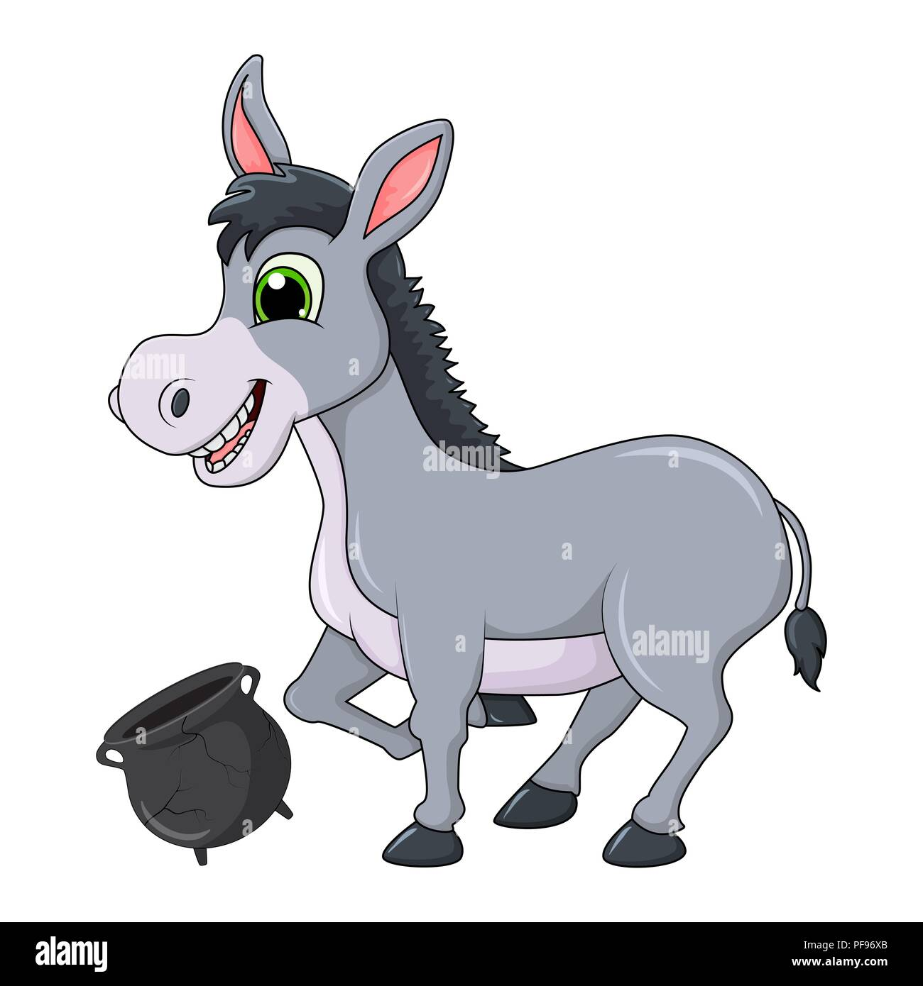 donkey cartoon character with broken pot vector design isolated on white background - Stock Image