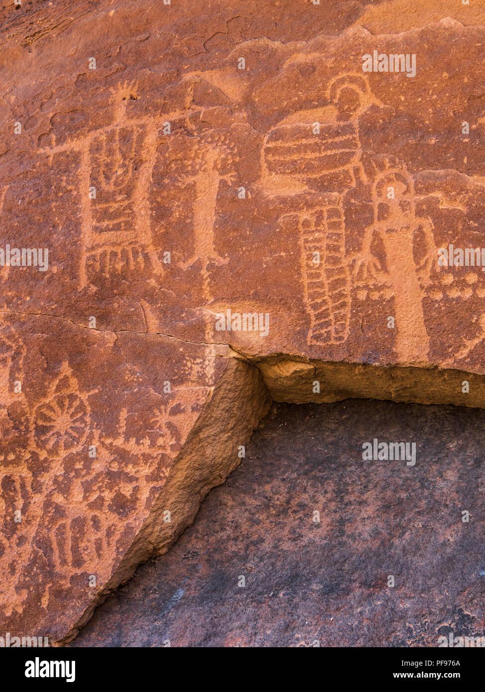 Fremont Indian petroglyphs, Flat Canyon, upper Desolation Canyon north of Green River, Utah. - Stock Image