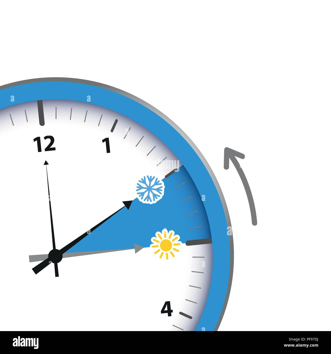 clock switch to winter time sun and snowflake vector illustration EPS10 - Stock Vector