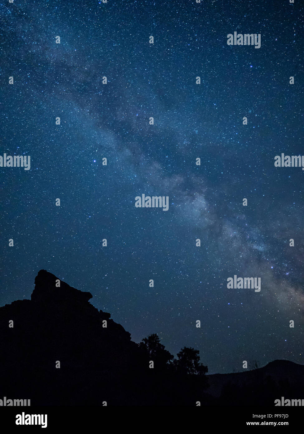 Milky Way in Desolation Canyon upstream from Green River, Utah. - Stock Image