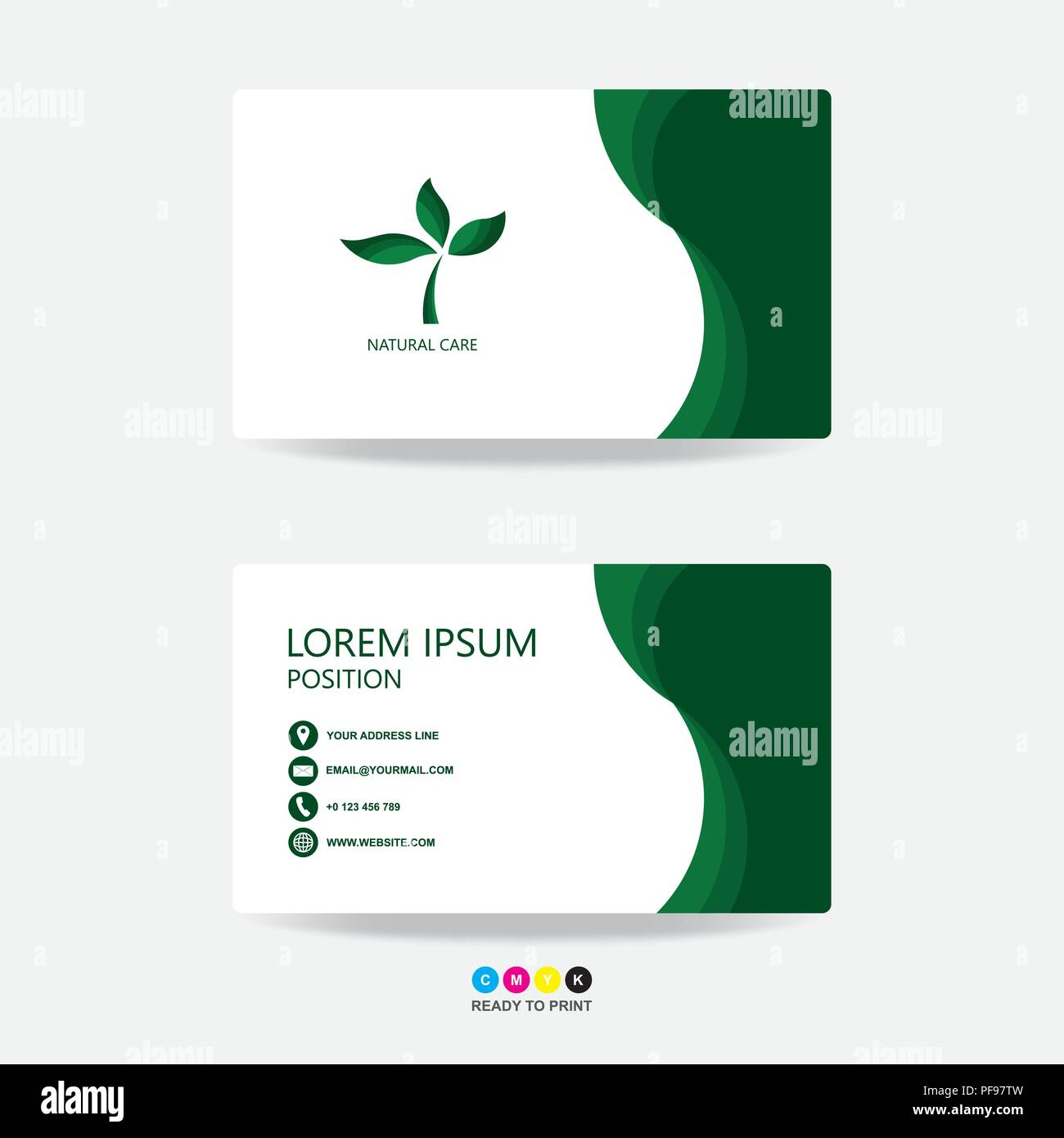green nature business card template design green leafs nature contact card for company front and back side green and white on the gray background v PF97TW