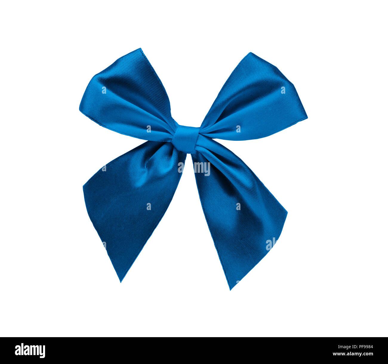 Elegant blue ribbon bow isolated over white background, design element - Stock Image