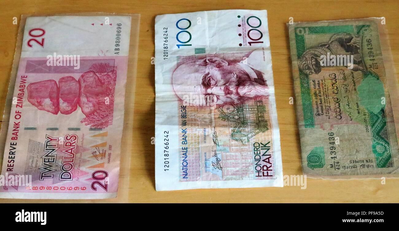 Twenty Dollars Bank Of Zimbabwe Ten Ru S Central Bank Of Sri Lanka 100 Cent Francs Banque Nationale De Belgique