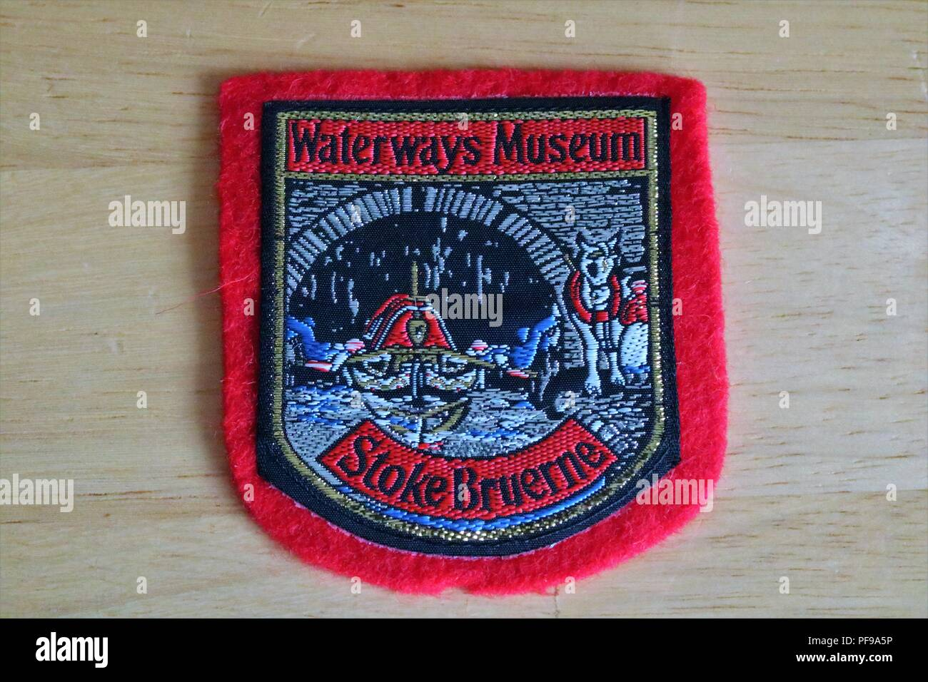 Waterways Museum Stoke Bruerne fabric patch showing canal scene - Stock Image
