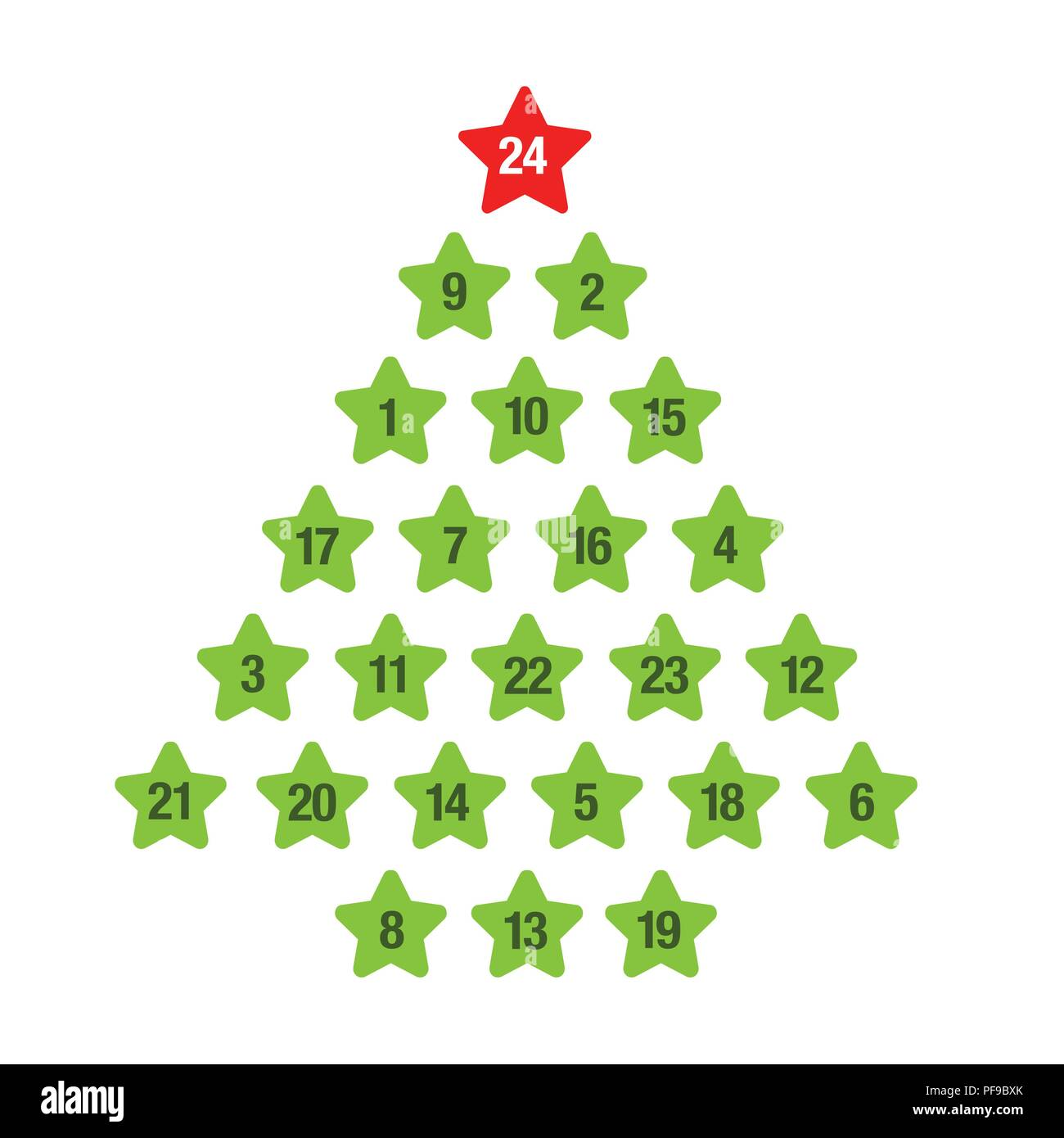 advent calendar green christmas tree vector illustration eps10 stockChristmas Tree Advent Calendar Diagram #11