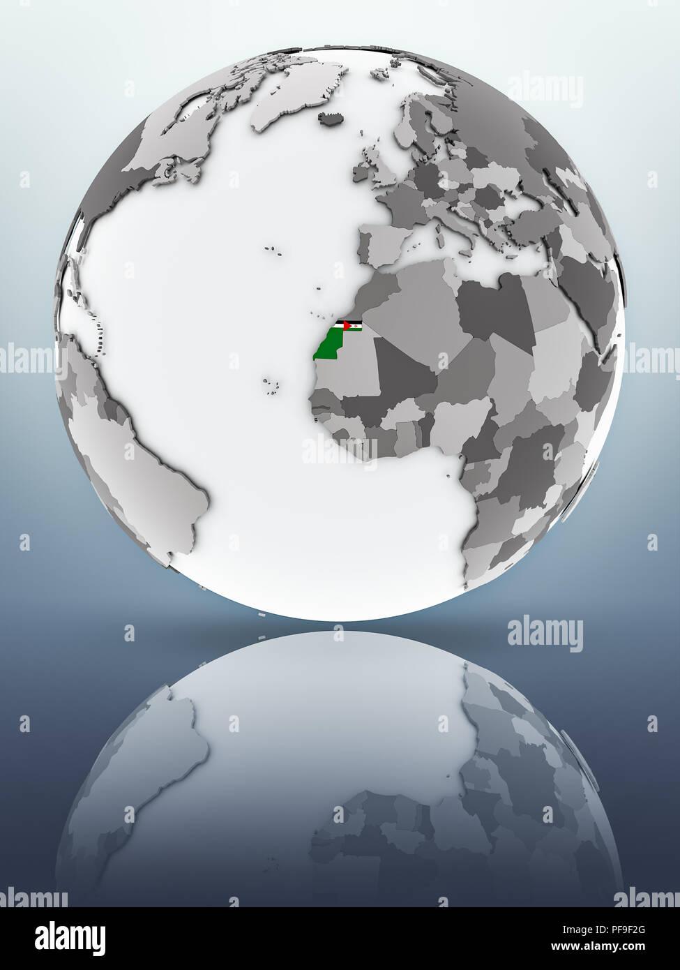 Western Sahara with flag on globe reflecting on surface. 3D illustration. Stock Photo
