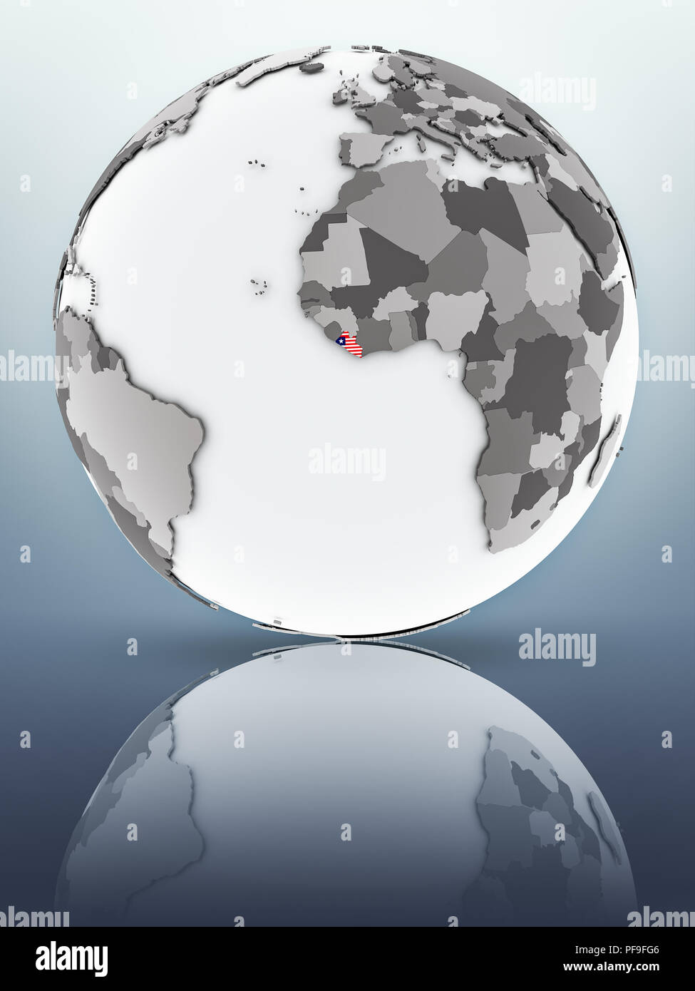 Liberia with flag on globe reflecting on surface. 3D illustration. - Stock Image