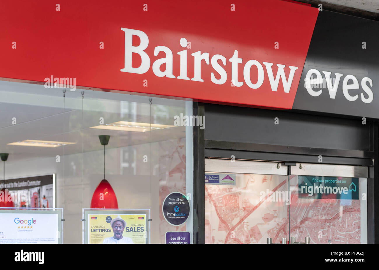 Bairstow Eves (part of the Countrywide plc Group) Estate agents shop signage in Brentwood Essex - Stock Image