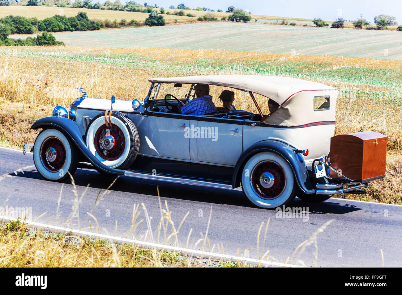 Packard Deluxe Eight(1931), Oldtimer car on a rural road, Czech Republic - Stock Image