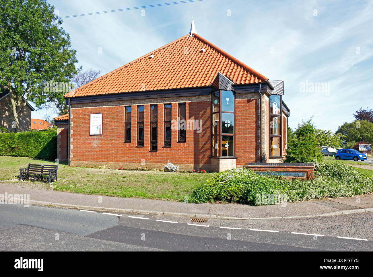 A view of the Methodist Church in East Norfolk at Acle, Norfolk, England, United Kingdom, Europe. - Stock Image