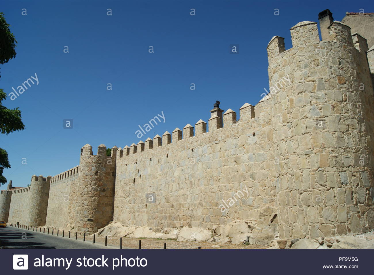 The medieval walls around the city of Avila in Spain. Some of the best preserved medieval fortifications in Europe - Stock Image