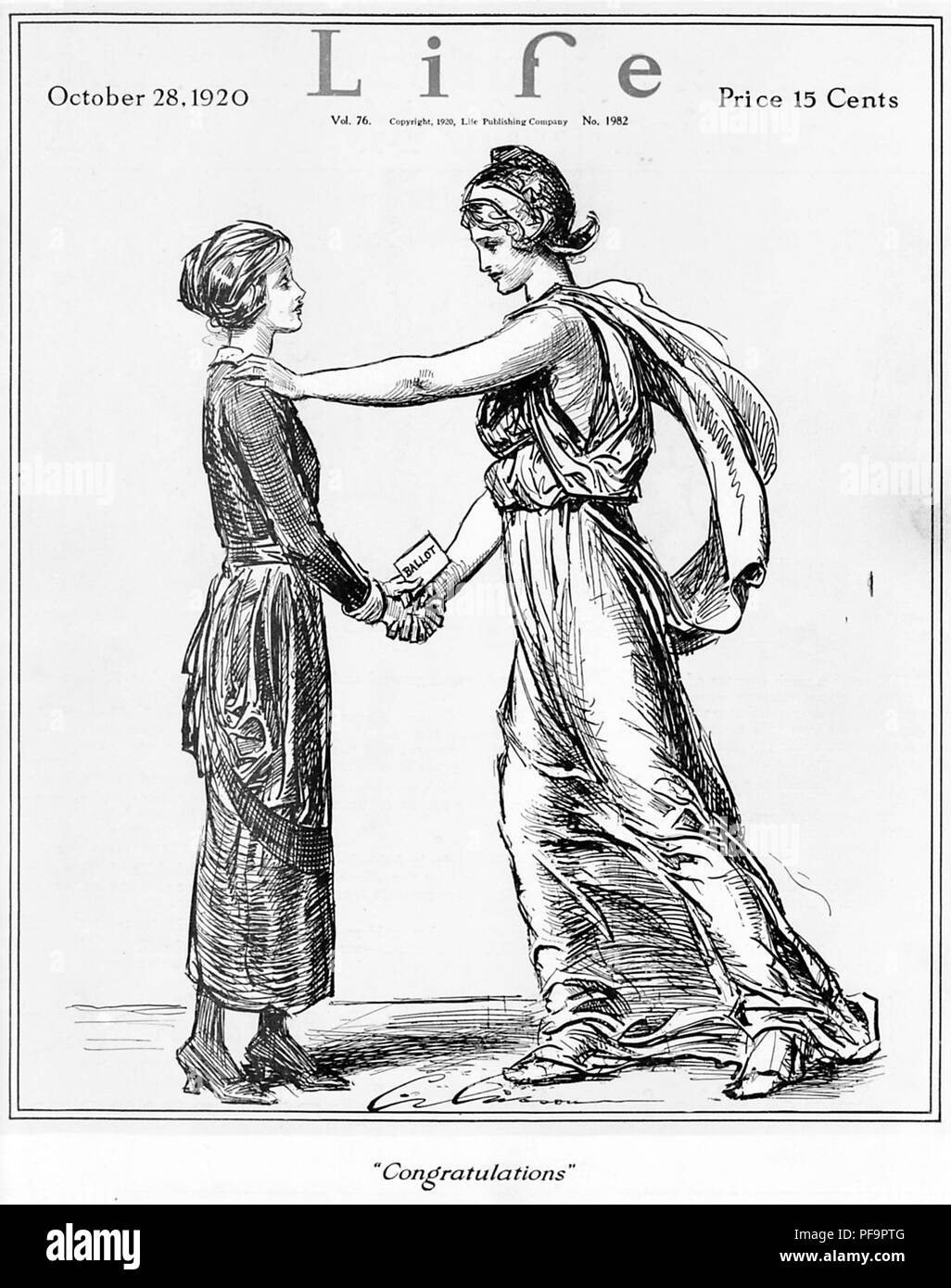 Black and white magazine cover, depicting Lady Liberty, congratulating a woman on the passage of the National Suffrage Amendment in 1920, captioned 'Congratulations, ' illustrated by Charles Dana Gibson, and published by Life magazine on October 28, 1920, for the American market, October 28, 1920. () - Stock Image