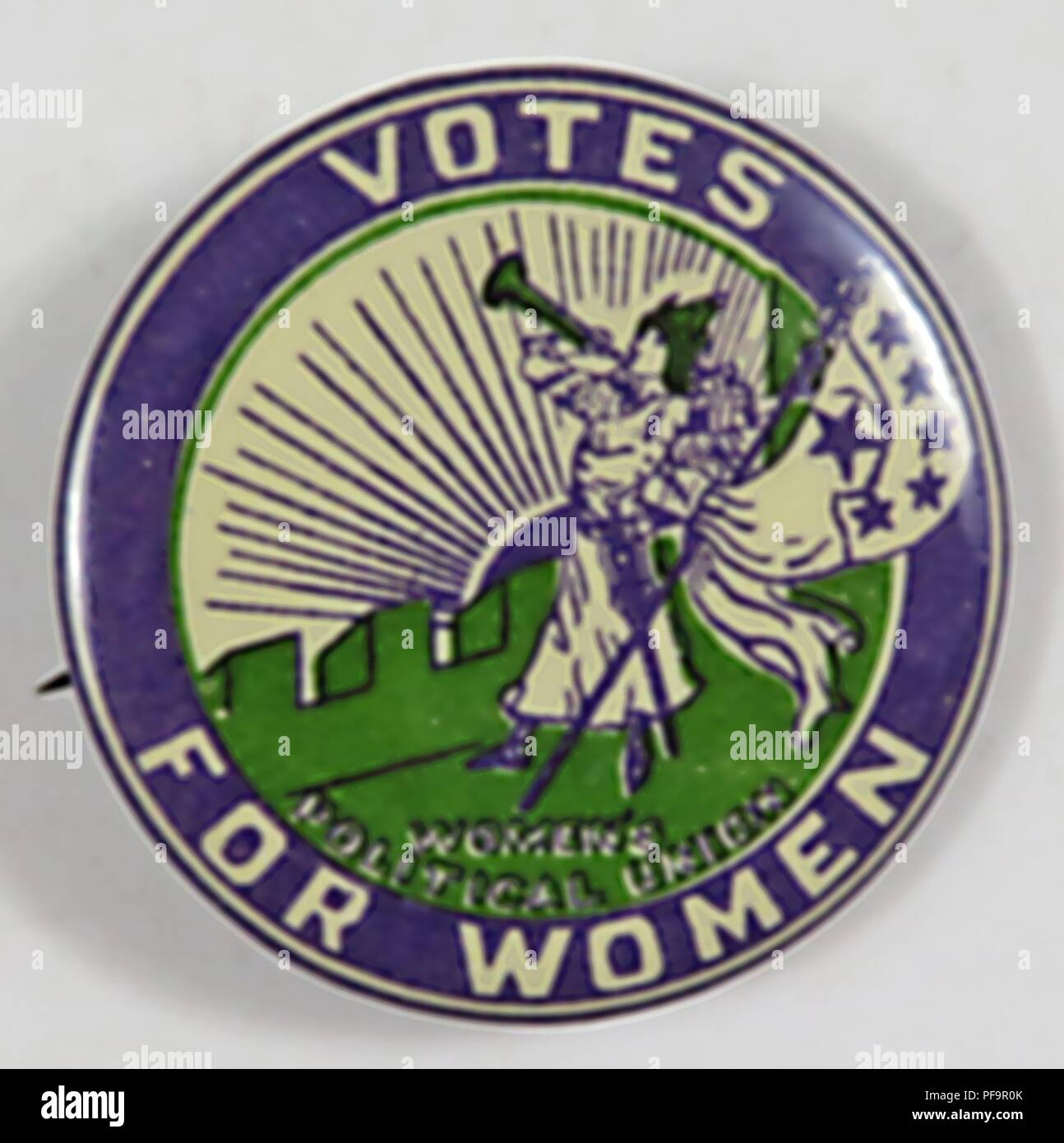 Suffrage Era Clarion Button With Stars With The Text Votes For