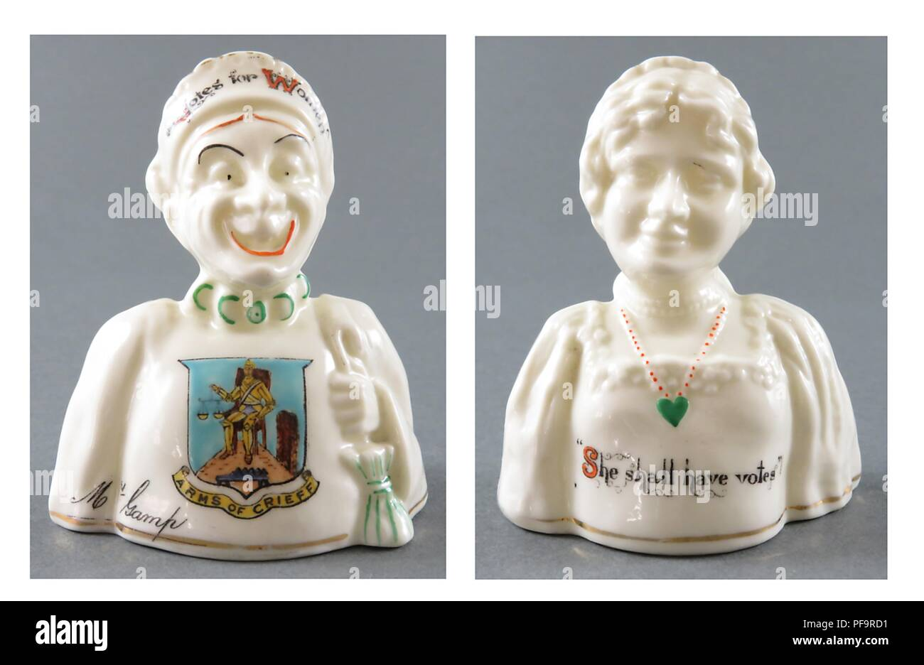 Two-sided china figurine, featuring an image of a female suffragist as both harridan and lovely woman, sold as souvenirs in vacation spots in England, United Kingdom, with merchants from each area adding the crest of their town (such as Crieff's here) to the piece, 1920. () - Stock Image