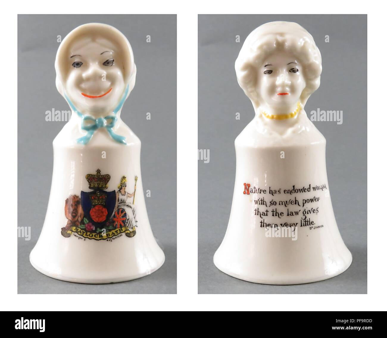 Two-sided china bells, featuring an image of a female suffragist as both harridan and lovely woman, sold as souvenirs in vacation spots in England, United Kingdom, with merchants from each area adding the crest of their town (such as Matlock Bath's here) to the piece, 1920. () - Stock Image