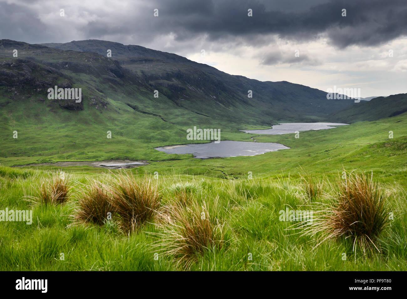 Loch an Eilein Lochan Ellen and Loch Airdeglais with Ben Creach peak in Glen More Isle of Mull Scotland UK - Stock Image