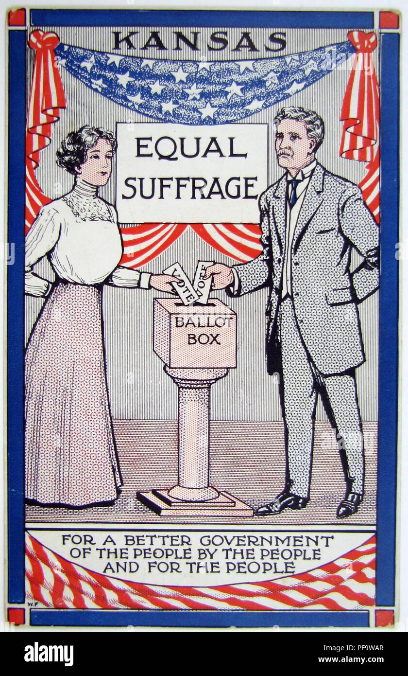 Color card, depicting both a man and a woman, standing on either side of a ballot, with the words 'Kansas' and 'Equal Suffrage' in the background, about to cast their votes, captioned 'For a better government of the people by the people and for the people, ' issued for the successful, 1912 suffrage campaign in Kansas, and published for the American market, 1912. () - Stock Image
