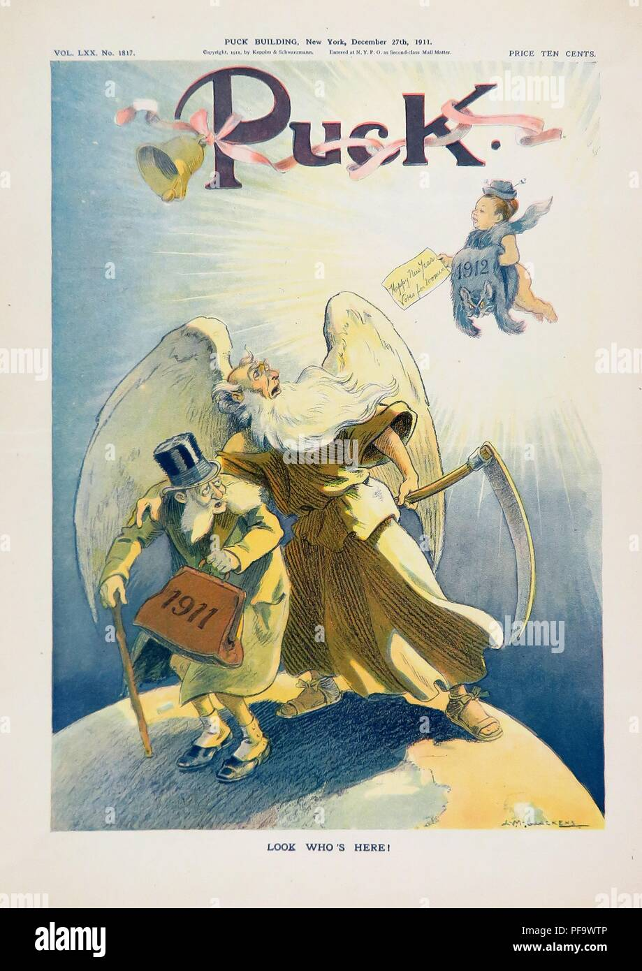 Color Magazine Cover Depicting 1911 As An Old Man Being Ushered