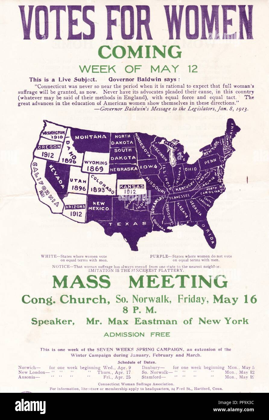 Suffrage meetings poster, with a women's suffrage map of the United States, advertising the appearance of radical activist Max Eastman, at a suffrage meeting in Norwalk, Connecticut, printed in the official colors of the Connecticut Woman Suffrage Association, purple, green, and white, and dated to 1913. () Stock Photo