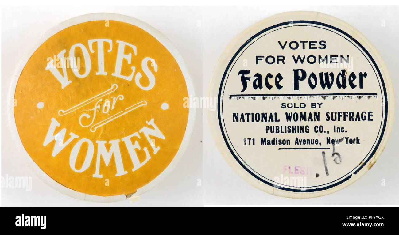 Two images of a round face powder container, labeled Votes for Women,  in yellow on a white ground, with black text identifying the product as 'Votes for Women Face Powder, ' produced in New York, and sold by the National Woman Suffrage Publishing Company, for the American market, 1915. Photography by Emilia van Beugen. () - Stock Image