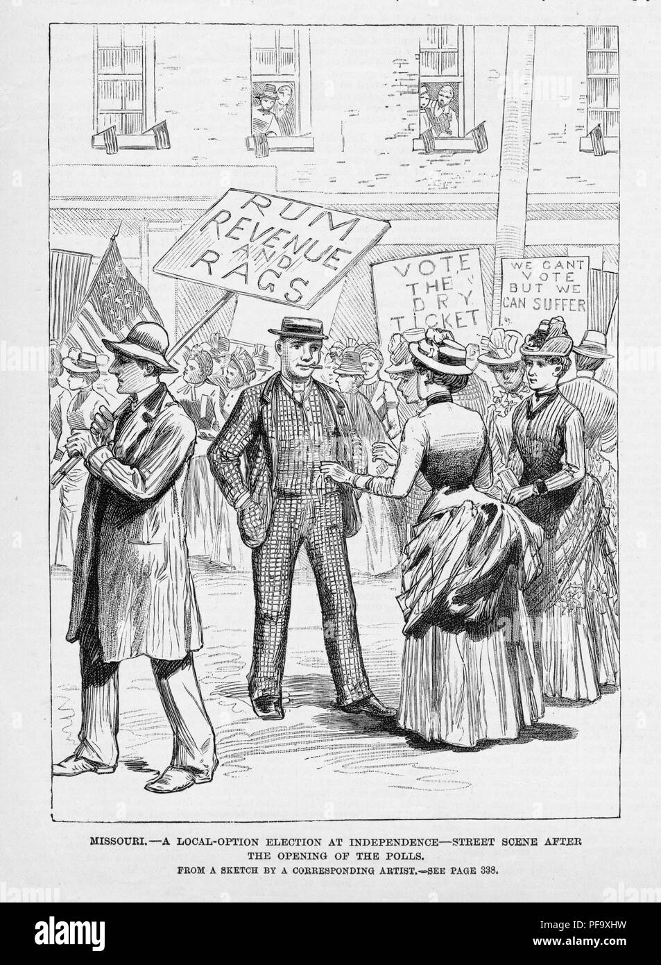 Black and white illustration depicting pre-suffrage Missouri women, on the street, promoting Prohibition during a local election, captioned 'Missouri - a local-option election at independence - street scene after the opening of the polls, ' published for the American market, 1888. () - Stock Image
