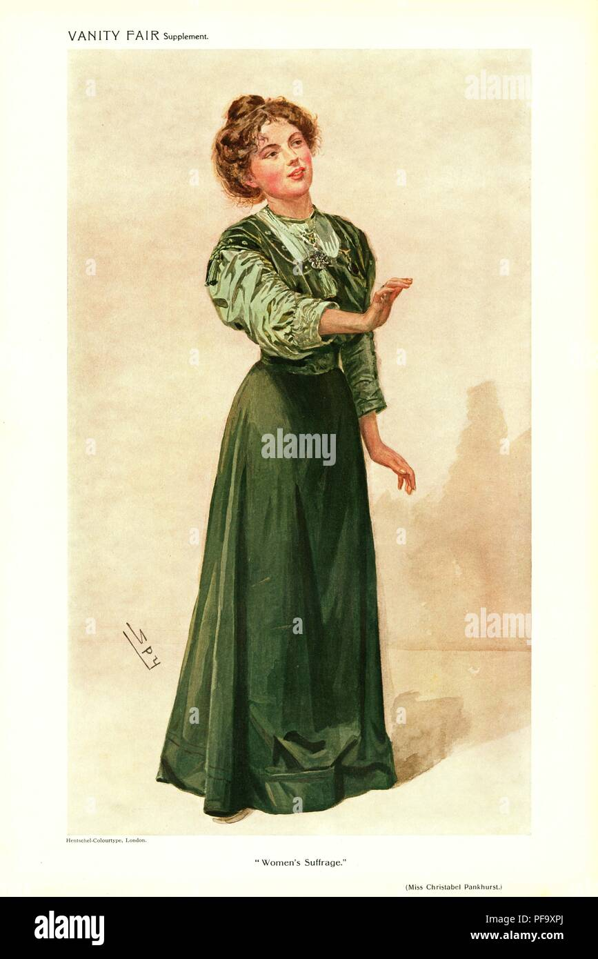 Full length, chromolithograph, Illustrating Christabel Pankhurst, daughter of militant English suffragist Mrs Emmeline Pankhurst, wearing a green, Edwardian dress and looking to the side, with one hand extended, captioned 'Women's Suffrage, ' illustrated by Spy (Sir Leslie Ward) and published by Vanity Fair for the British market, June 15, 1910. () - Stock Image