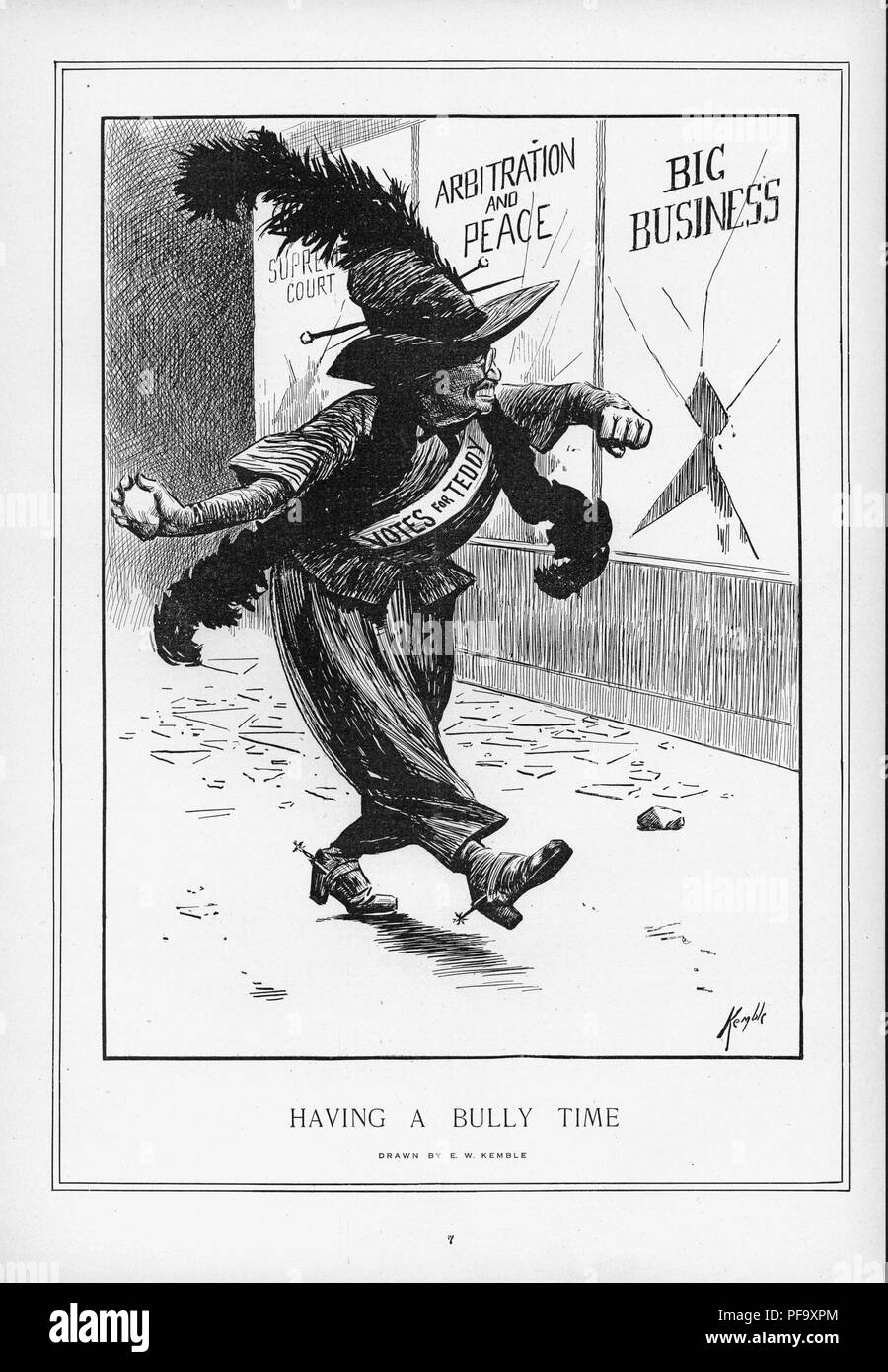 Black and white illustration, depicting Theodore Roosevelt as a militant suffragette, wearing Edwardian Women's clothing, with a feather boa and large feather in his hat, and breaking shop windows on behalf of the cause, referencing his advocacy for the women's suffrage movement when he ran for President on the Bull Moose ticket, titled 'Having a Bully Time, ' illustrated by EW Kemble, ' and created for the American market, 1912. () Stock Photo