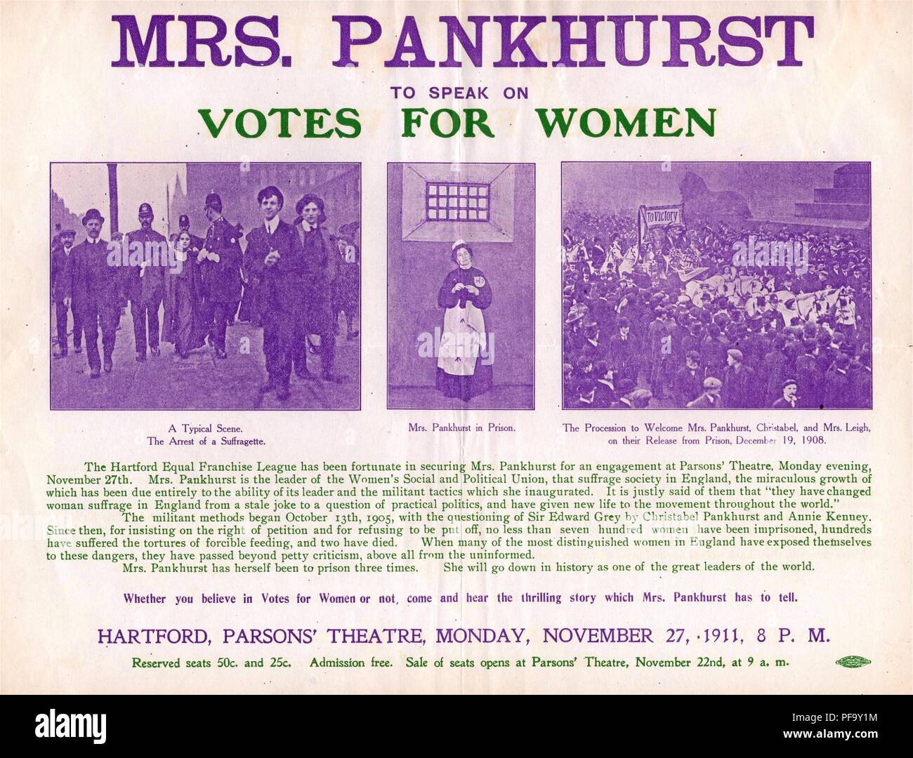Purple, green and white poster advertising a speaking engagement for the militant, English suffragist Mrs Emmeline Pankhurst, at the Parson's Theatre in Hartford, Connecticut, with a triptych of images depicting a suffragist's arrest, Emmeline Pankhurst in prison, and a procession welcoming her release, published for the American market, November, 1911. () - Stock Image
