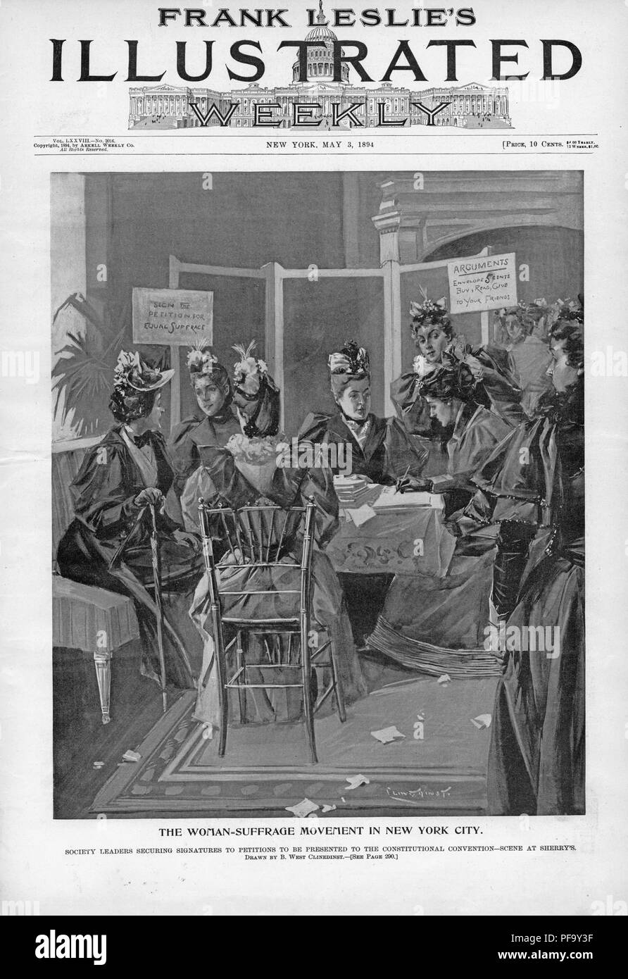 Black and white print illustrating suffragists seated in a parlor at Sherry's, securing signatures for a petition to include women's voting rights in a new draft of New York's state constitution, captioned 'The Woman-Suffrage Movement in New York City,' illustrated by Benjamin West Clinedinst, and published in Frank Leslie's Illustrated Weekly for the American market, 1894. () - Stock Image