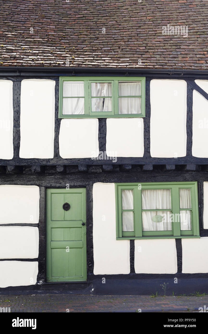 Winslow, UK - April 27, 2015. Old Tudor timber frame cottage in England, UK - Stock Image