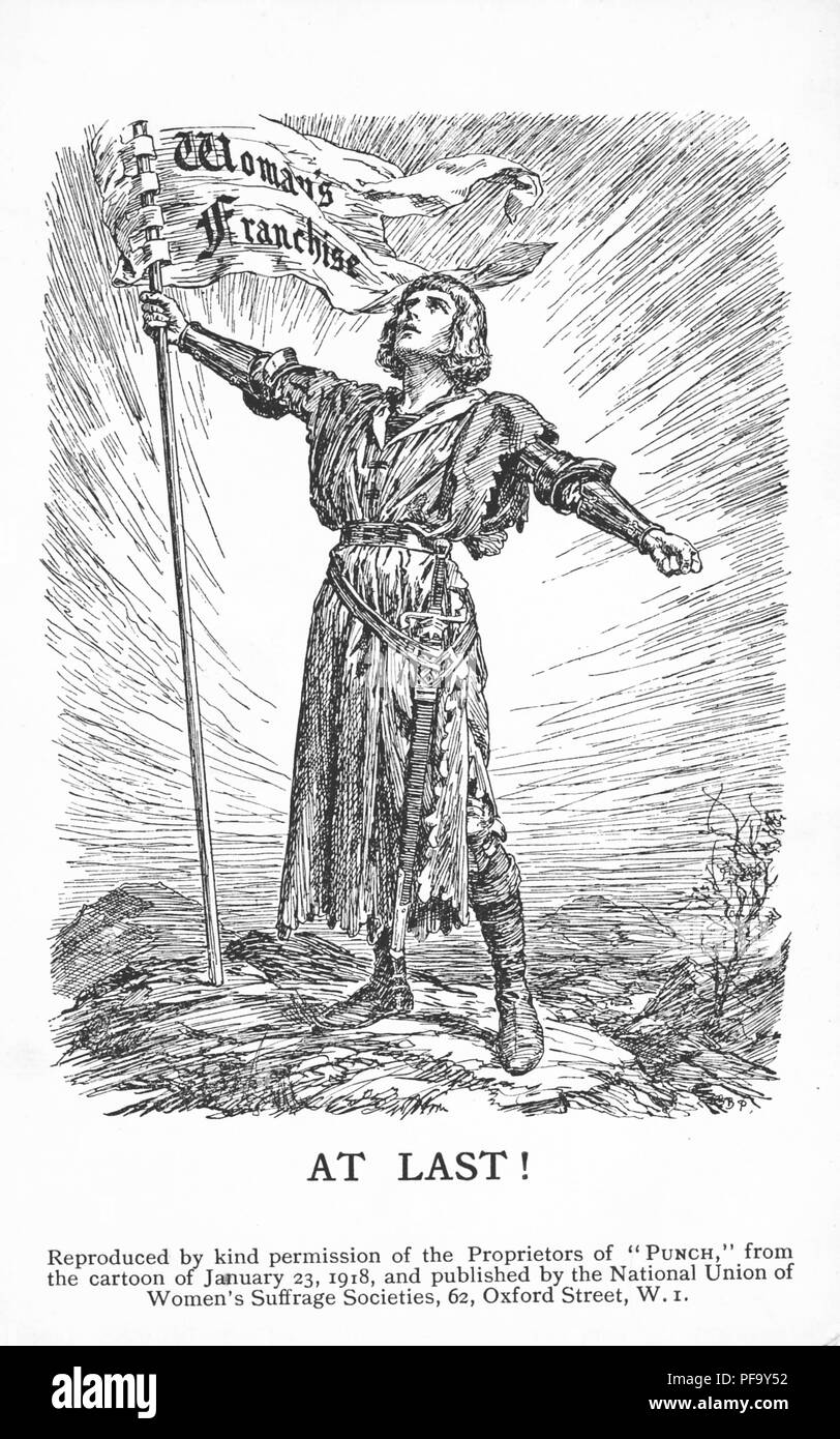 Black and white vintage postcard depicting a personification of Victory, in the guise of a crusading knight, holding a banner with the words 'Woman's Franchise, ' and captioned 'At Last!' to celebrate partial suffrage (for women over the age of 30, property-owning women over the age of 21, and women married to householders) copied from a Punch cartoon, and published for the British market by 'The National Union of Women Suffrage Societies', January 23, 1918. () Stock Photo