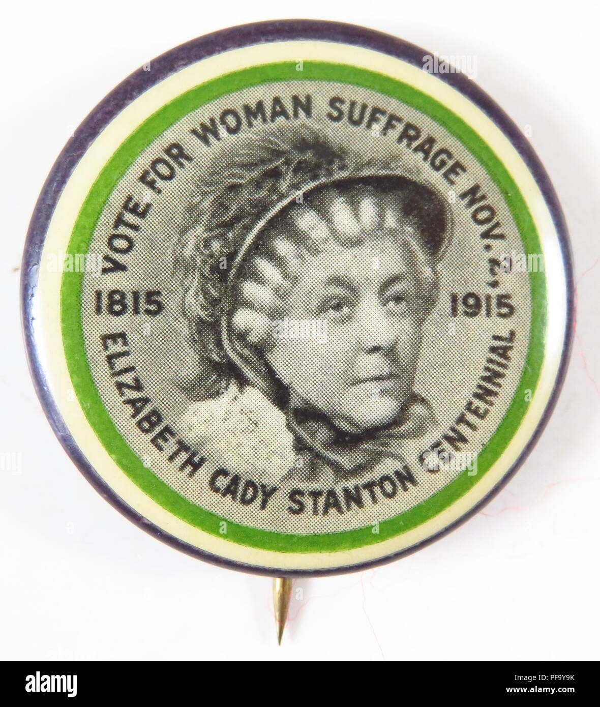 Purple, green and white, suffrage pin with an image of Elizabeth Cady Stanton at the center, ringed by the words 'Votes for Woman Suffrage Nov 2, Elizabeth Cady Stanton Centennial, ' and the dates '1815' and '1915' to commemorate the hundred anniversary of Stanton's birth and the imminent New York Suffrage referendum by the Women's Political Union founded by her daughter Harriot Stanton Branch, issued by the Connecticut Woman Suffrage Association (CWSA) for the American market, 1915. () - Stock Image