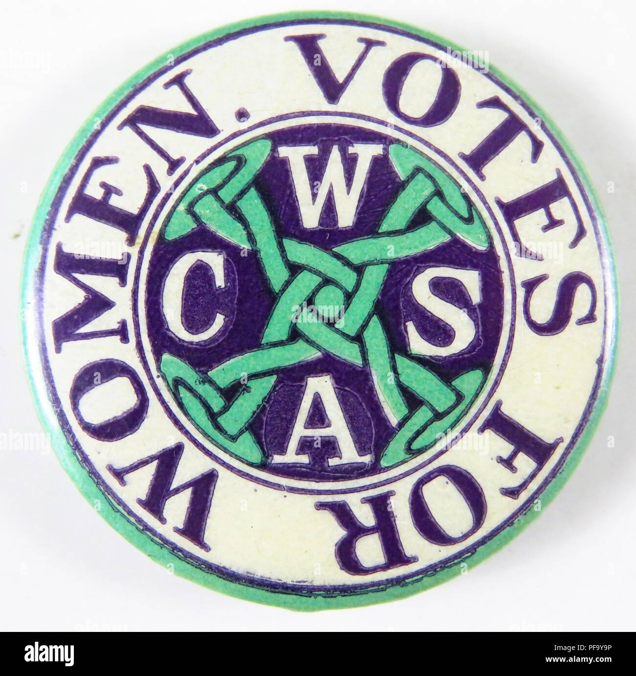 Purple, green and white, suffrage pin with the Connecticut Woman Suffrage Association's acronym (CWSA) separated by a chain-link design at the center, and with the words 'Votes for Women' circling the outer rim, issued by the Connecticut Woman Suffrage Association, for the American market, 1910. () - Stock Image